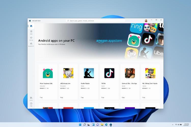 Nueva tienda de apps de Android en Windows 11.
