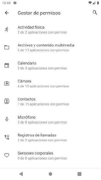Android - Gestión de permisos de apps