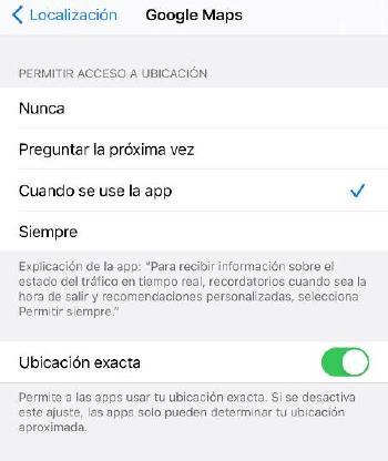 Opciones privacidad iOS - Ubicación