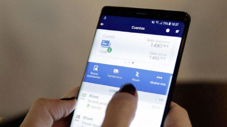 Aplicación bancaria en un teléfono móvil.