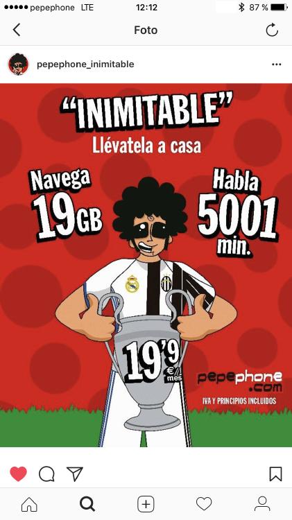 pepephone inimitable en Instagram. Creatividad pepephone realmadrid juventus champions