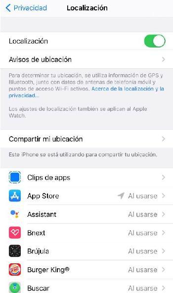 Opciones privacidad iOS - Localización