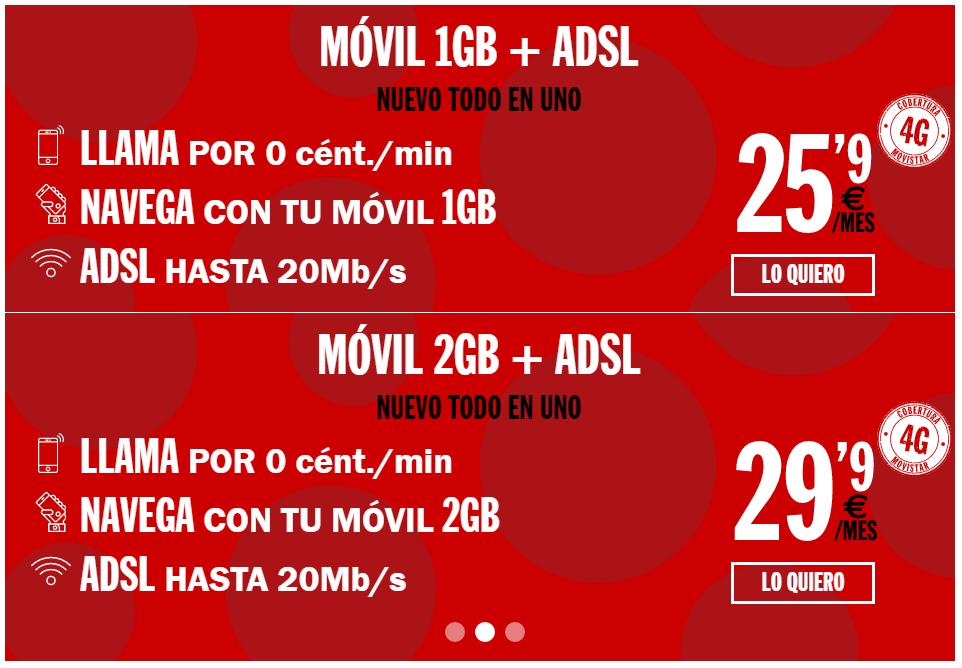 ADSL + MÓVIL con tarifa Habla por 0 cént./min y Navega 1GB – 25,90€ ADSL + MÓVIL con tarifa Habla por 0 cént./min y Navega 2GB – 29,90€