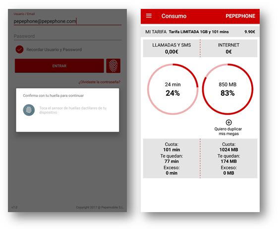 Caputas de pantalla de la APP de Pepephone en su versión Android 7.0