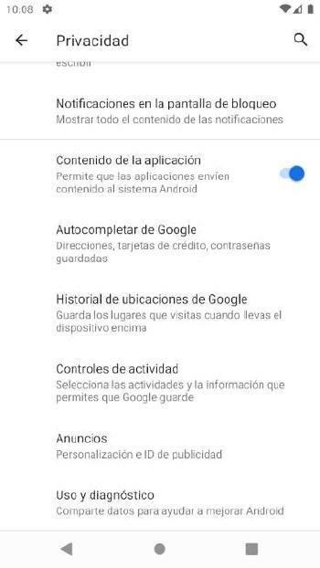 Android - Opciones privacidad 2