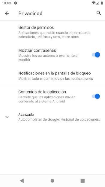 Android - Opciones privacidad 1