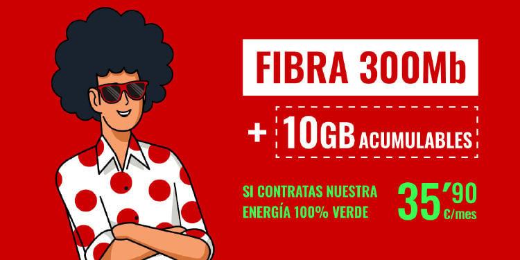 Fibra 300Mb + 10Gb + energía