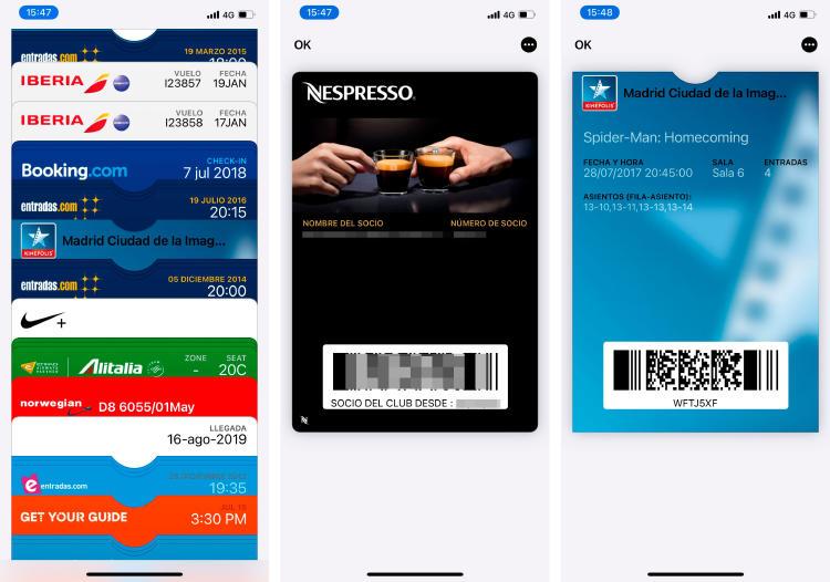 Wallet de IPhone con billetes, entradas de cine, carnés de fidelización...