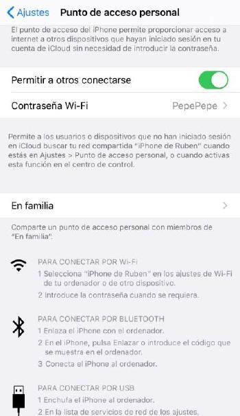 Punto de acceso personal iOS