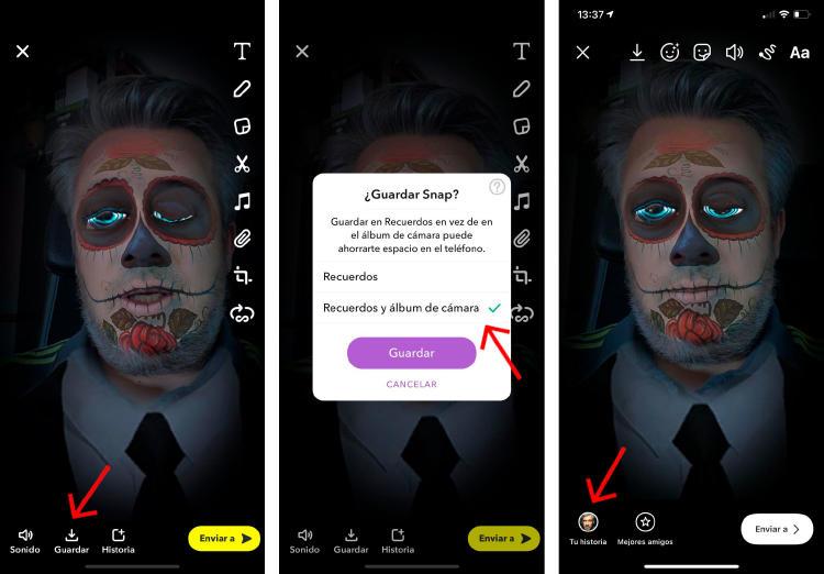 Cömo usar un filtro de Snapchat en Instagram.