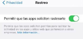 Opciones privacidad iOS - Rastreo