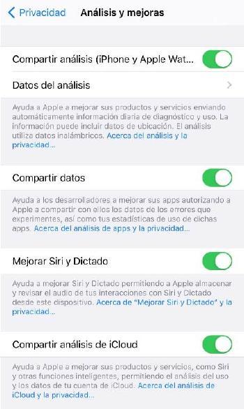 Opciones privacidad iOS - Envío de datos