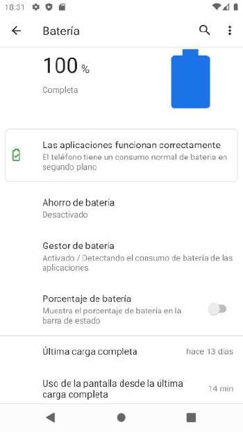 Uso batería Android