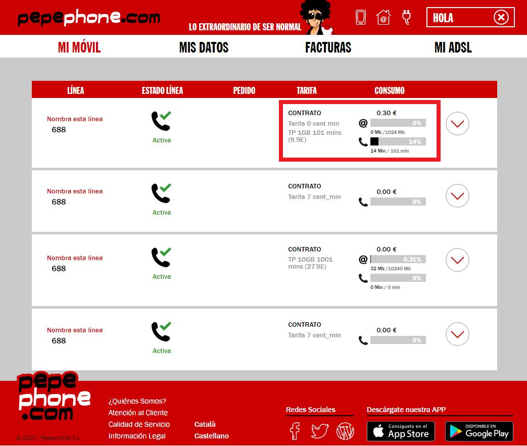 mipepephone consulta minutos MB consumidos