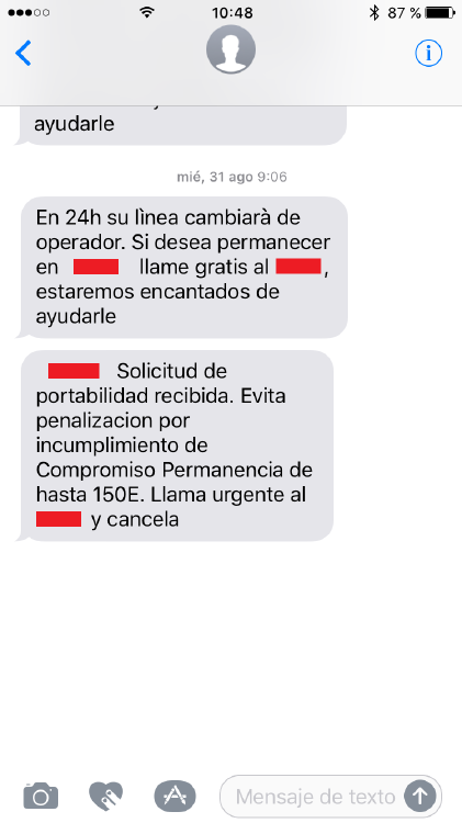 SMS penalizacion retencion incumplimiento compromiso de permanencia