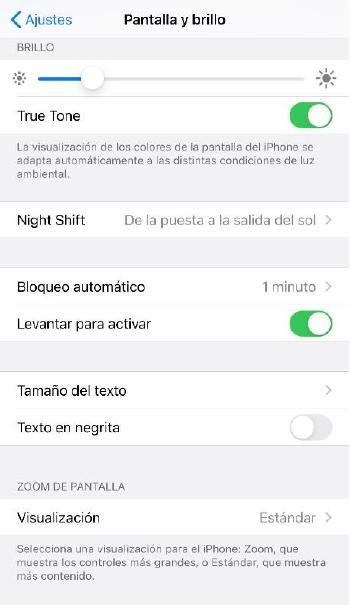Brillo pantalla iOS