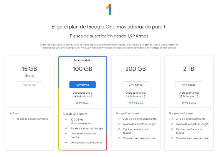 Planes de precios de Google One.
