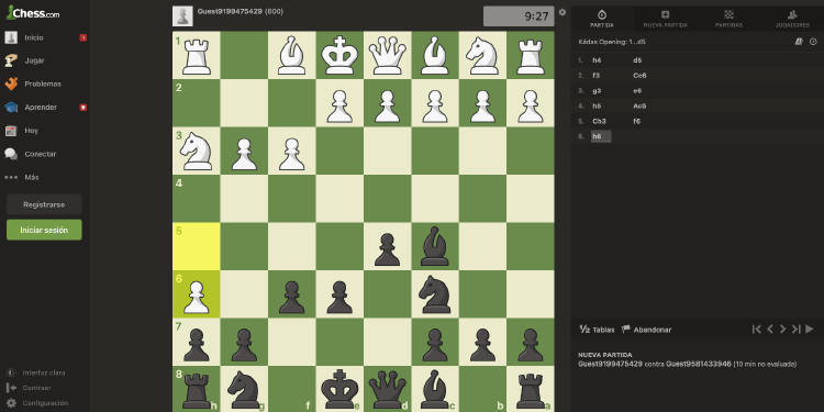 Juego de ajedrez a través del navegador.