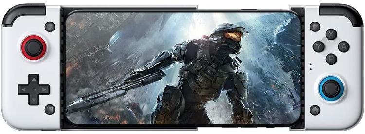 Teléfono Android con un gamepad para jugar en streaming.