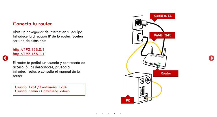 Configuración de un router para configurar la conexión a internet.